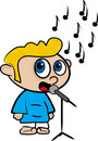 Cartoon of a boy who sings Stock Image