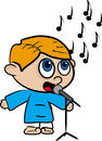 Cartoon of a boy who sings II Stock Photos