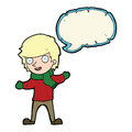 cartoon boy in winter clothes with speech bubble Royalty Free Stock Photo