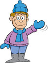 Cartoon boy in Winter clothes waving Royalty Free Stock Photo