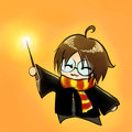 Cartoon boy in wizard costume anime manga chibi kawaii vector Royalty Free Stock Photo