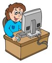 Cartoon boy working with computer Royalty Free Stock Photos