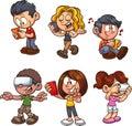 Cartoon boys and girls using smartphones
