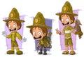 Cartoon boyscout ranger and tourist character vector set