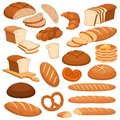 Cartoon bread. Bakery rye products, wheat and whole grain sliced bread. French baguette, croissant and bagel, toast Royalty Free Stock Photo