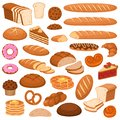 Cartoon bread and cakes. Bakery wheat products, rye breads. Baguette, pretzel and ciabatta, croissant and cupcake Royalty Free Stock Photo