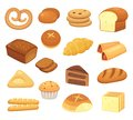 Cartoon bread icon. Breads and rolls. French roll, breakfast toast and sweet cake slice. Bakery products vector icons