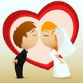 Cartoon bride and groom kiss