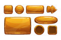 Cartoon bronze game ui assets metallic gui isolated on white Stock Photography