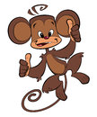A cartoon brown happy monkey with both thumbs up Stock Photos