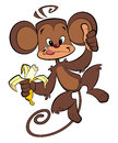 A cartoon brown happy monkey eating banana with thumb up Stock Photo