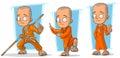 Cartoon buddhist monk in orange robe character vector set