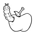 Cartoon bug eating apple black and white line in retro style vector available Stock Photography