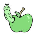 Cartoon bug eating apple hand drawn illustration in retro style vector available Royalty Free Stock Images