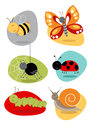 Cartoon bugs insect illustrations including bee butterfly spider snail spider caterpillar ladybird Stock Photos