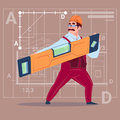 Cartoon Builder Holding Carpenter Level Wearing Uniform And Helmet Construction Worker Over Abstract Plan Background Royalty Free Stock Photo