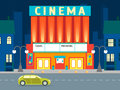 Cartoon Building Cinema on a City Landscape Background. Vector Royalty Free Stock Photo