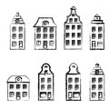 Cartoon building, Decorative facade of burgher houses hand drawn vector sketch isolated on white background