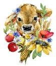Cartoon bull. farm animal illustration. cute watercolor calf. little cow Royalty Free Stock Photo