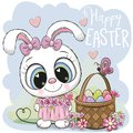 Cartoon Bunny with a basket of Easter eggs