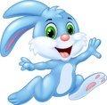Cartoon bunny running and happy Royalty Free Stock Photo