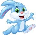 Cartoon bunny running and happy Royalty Free Stock Photo
