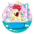 Cartoon bunny taking a bath Royalty Free Stock Photo