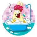 Cartoon bunny taking a bath Royalty Free Stock Photo