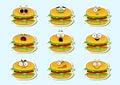 Cartoon burger cute character face sticker.