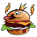 Cartoon burger king making a thumbs up gesture cheeseburger wearing crown and sticking out tongue Stock Photo