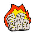 Cartoon burning buildings hand drawn illustration in retro style vector available Royalty Free Stock Images