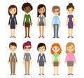 Cartoon busines women set of diverse businesswomen on white background different nationalities and dress styles cute and simple Royalty Free Stock Photo