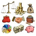 Cartoon business finance money set. Scales, stack of coins, sack of dollars, credit cards, handshake, paper money, purse Royalty Free Stock Photo
