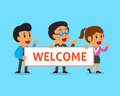 Cartoon business team holding welcome sign Royalty Free Stock Photo