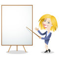 Cartoon business woman blank white board vector illustration of a explaining and pointing at Royalty Free Stock Image