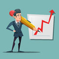 Cartoon Businessman with Big Pencil Drawing Growth Graph. Business Planning