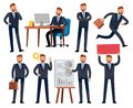 Cartoon businessman. Business professional man in different office work situations. Vector characters set Royalty Free Stock Photo