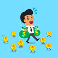 Business woman holding bags of money, vector illustration