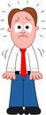Cartoon businessman crying standing sad and Royalty Free Stock Image