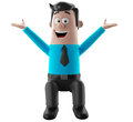 Cartoon businessman 3D office man in suit and tie