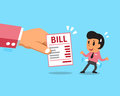 Cartoon businessman does not have money to pay bill
