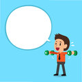 Cartoon businessman doing dumbbell lateral raise training with white speech bubble Royalty Free Stock Photo