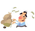 A cartoon businessman excited with having a trolley full with sacks with bank notes Royalty Free Stock Photography
