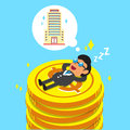 Cartoon businessman falling asleep on money coins and dream about building Royalty Free Stock Photo
