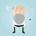 Cartoon businessman long gray beard cobwebs background long delay concept Stock Photos