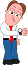 Cartoon businessman looking at watch standing and Royalty Free Stock Photos