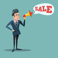 Cartoon Businessman with Megaphone Promoting Sale. Big Discount