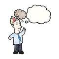 Cartoon businessman with overheated brain Royalty Free Stock Photos