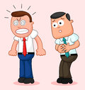 Cartoon businessman pair one of them furious and the other scar two businessmen with scared Royalty Free Stock Photos