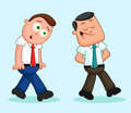Cartoon businessman pair one walking ahead and the other follow two businessmen with following Stock Photography